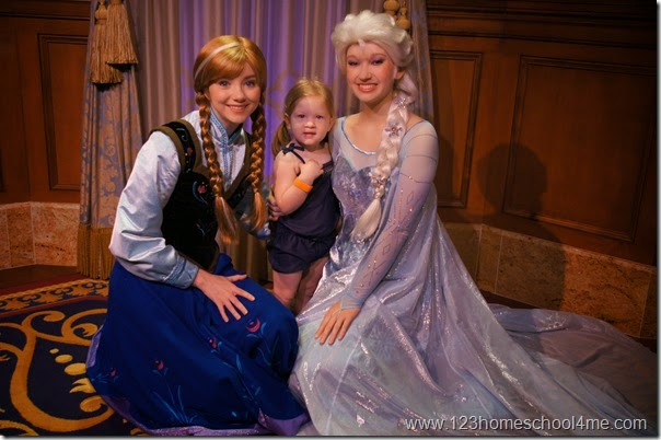 Meeting Anna and Elsa from Frozen at Fairytale Hall in Fantasyland Magic Kingdom