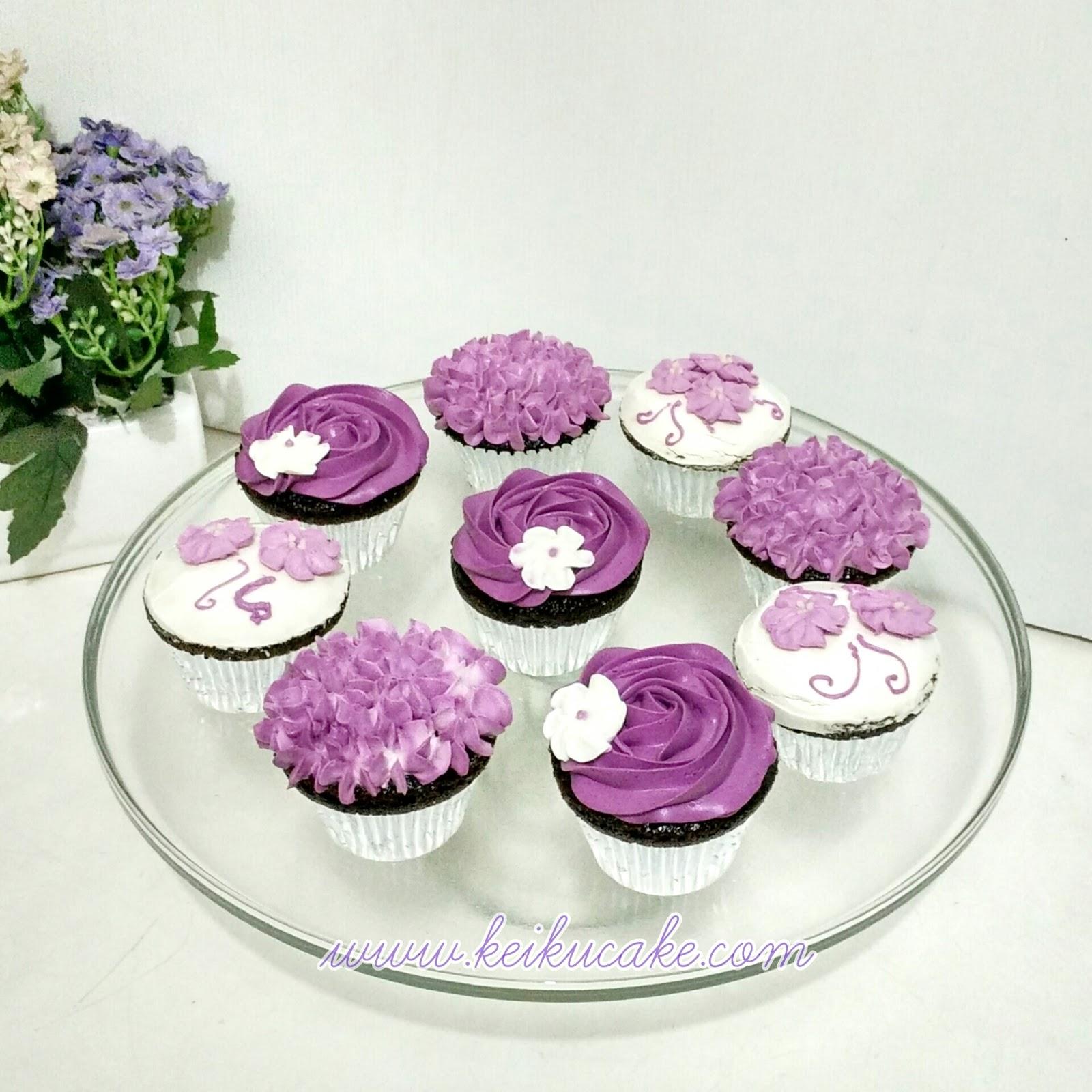 Keiku Cake Purple buttercream frosting cupcakes