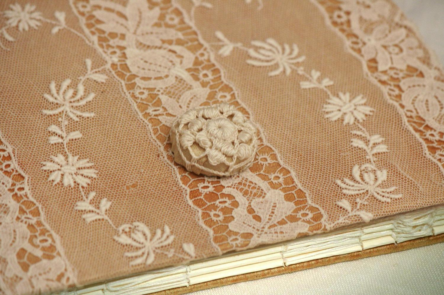 OOAK Memory Guest Book, Lace Wedding Guest Book, Scrapbook, Polaroids,
