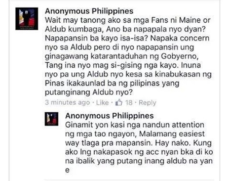 Anonymous Philippines cursing at AlDub fans