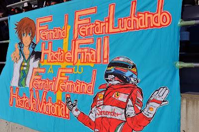 анимешный баннер болельщиков Фернандо Алонсо на Гран-при Японии 2013