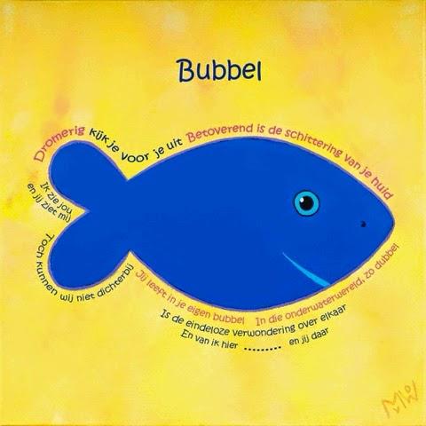 Bubbel schilderij met gedicht