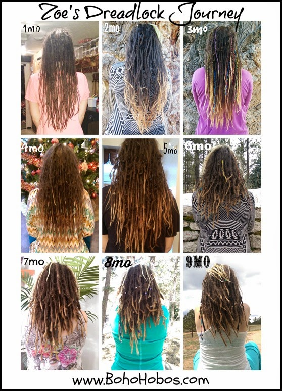 9 Mo Dreads Progression Collage