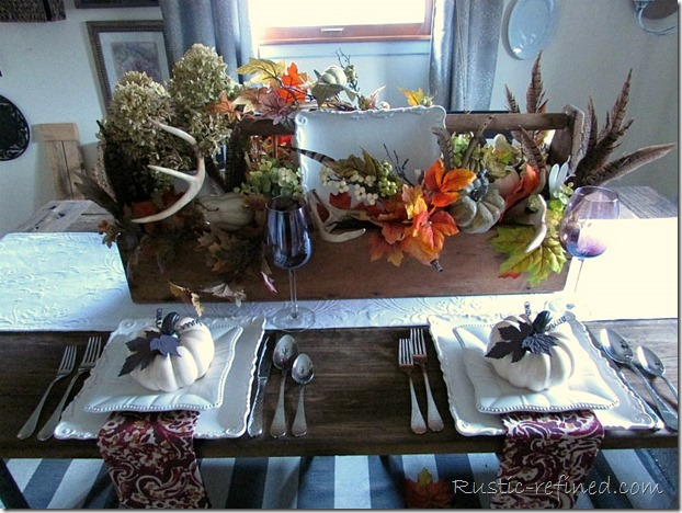 Antiques used as centerpieces for the dining table