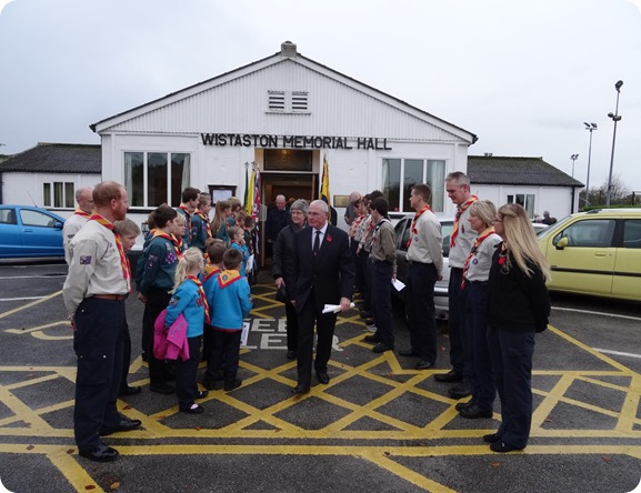 Wistaston 35th SWC Scout Group's guard of honour outside  Memorial Hall