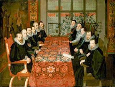 Delegación española e inglesa en la conferencia de Somerset House