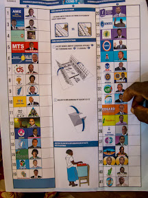 A picture of the presidential ballot – nearly 40 candidates had the opportunity to be chosen nationally!  Most voters can't read or write, so the ballots showed the candidates' official pictures and their logos, so the voters would know for sure who they were choosing.  Papan'mwana is pointing at his choice for the election, though he didn't win.  Candidate number 3 is the winner of the election and the current President of Madagascar.  Unfortunately, he hasn't yet had the opportunity to demonstrate recovery from the recent and economically destructive coup d'état.