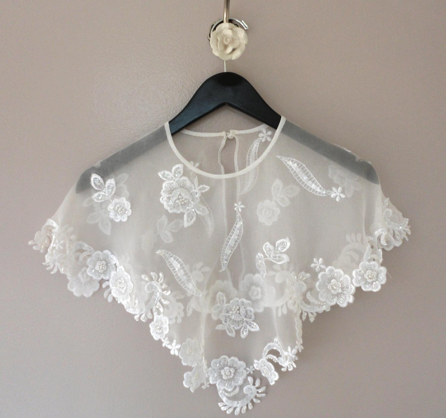white silk bridal caplet