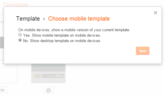 disable mobile template in blogger