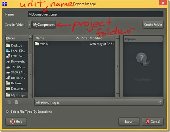 Save as bmp with unit name in project folder