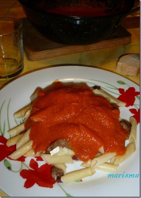 macarrones con senderuelas y queso brie,racion1 copia