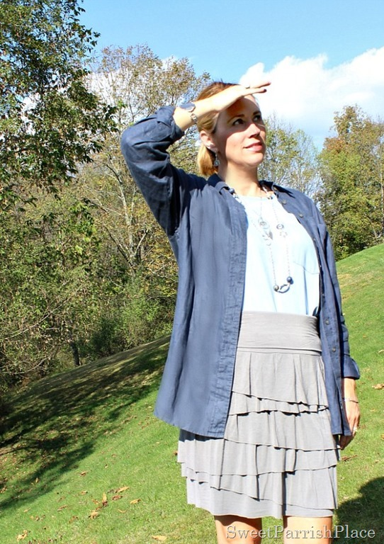 linen-button-down-grey-tiered-skirt-chambray-shirt-2