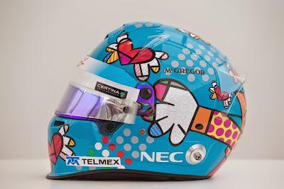 шлем Эстебана Гутьерреса от всемирно известного бразильского поп-арт художника Ромеро Бритто для Гран-при Монако 2014