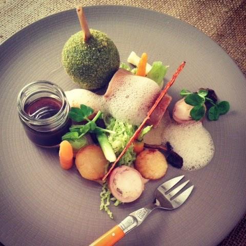 Saddle of Rabbit Wild Mushroom, Baby Vegetables, Confit Leg, Savoy Cabbage, Truffle