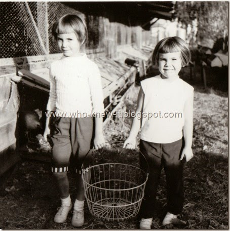 Debi_Cary collecting eggs 1958