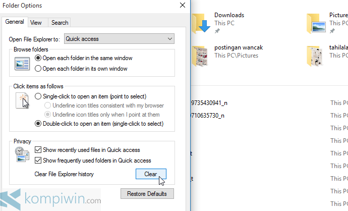 menghapus quick access di windows 10