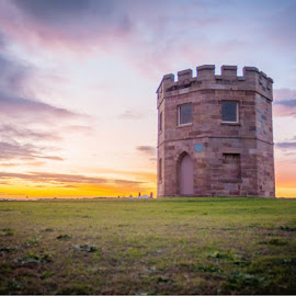 Macquarie Watchtower by Daniel Wheeler - Landscapes Sunsets & Sunrises ( sunset, history, clouds, landscape, architecture )