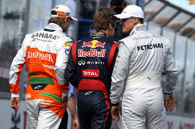 Нико Хюлькенберг Себастьян Феттель Михаэль Шумахер на Гран-при Австралии 2012