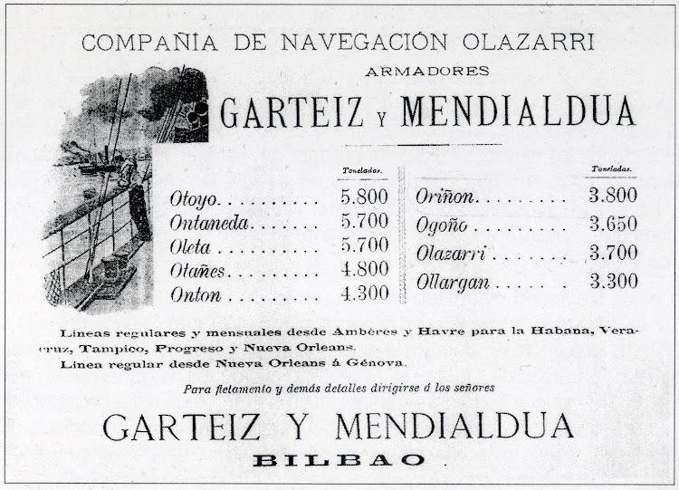 Anuncio de la Compañía de Navegación Olazarri. Revista El Mundo Naval Ilustrado. Año 1901.JPG