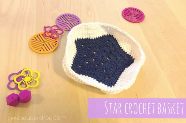 Star crochet basket DIY blue and white