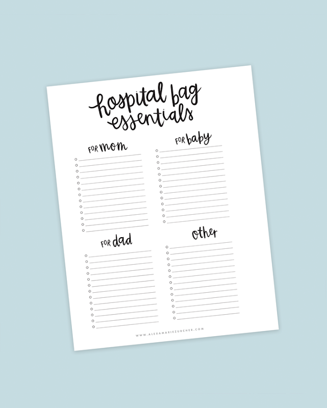 Hospital Bag Essentials Printable