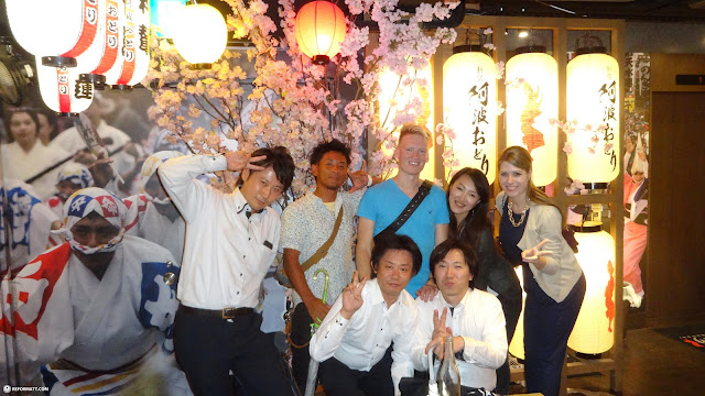 ending an incredible evening at the Awa Odori restaurant with my friends in Tokyo, Tokyo, Japan