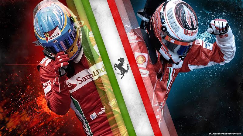 Фернандо Алонсо и Кими Райкконен Ferrari 2014 - арт atatashechke