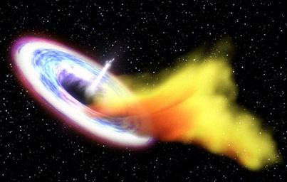 ilustração de um buraco negro consumindo uma estrela