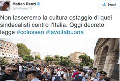 Renzi Tweet sidacalisti contro Italia
