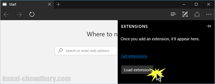 Windows 10 - Microsoft Edge - Load Extension (www.kunal-chowdhury.com)