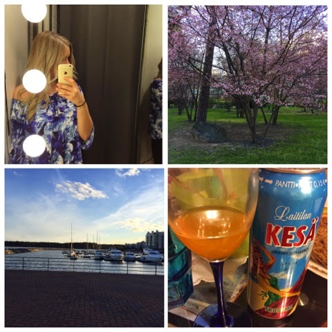 weekends, viikonloput, weekend snaps, weekend via iphone, weekend via phone, shopping, bikbok, store, cherry blossom, trees, pink, sea, vuosaari, boats, log drink, summer,