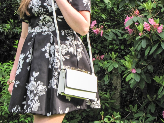fashion-blog-ootd-what-to-wear-chestertons-polo-in-the-park-summer-wedding-occassion-formal-dress-monochrome-prom-dress-girl-black-and-white-new-look-very-sekonda-floral-white-bag-rose-gold-watch-chunky-heels-comfortable-high-heel-shoes-jewellery-accessories-earrings-ring-#mypolostyle