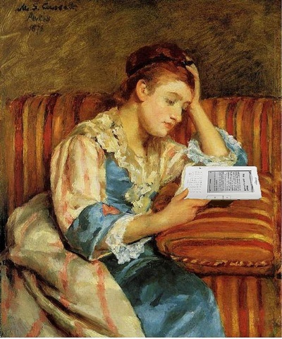 Foto de Mike Licht, Mrs. Duffee Seated on a Striped Sofa, Reading her Kindle, After Mary Cassatt. https://flic.kr/p/8mxjNR
