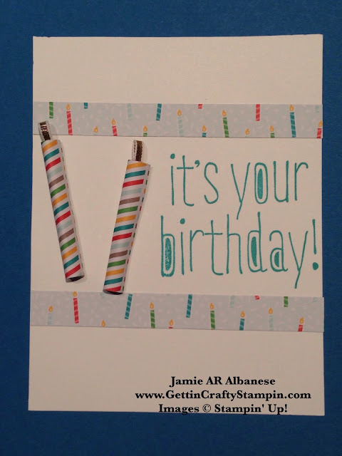 Getting Crafty With Jamie Birthday Candle Hand Stamped Card