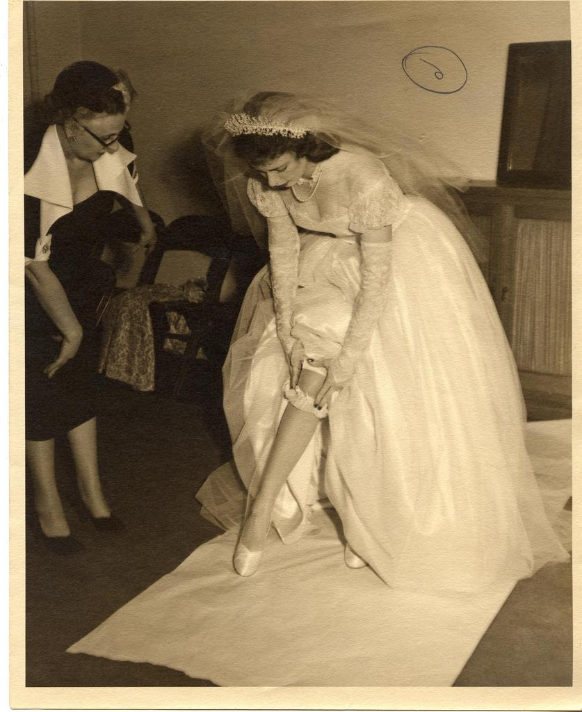 vintage bride with garter belt