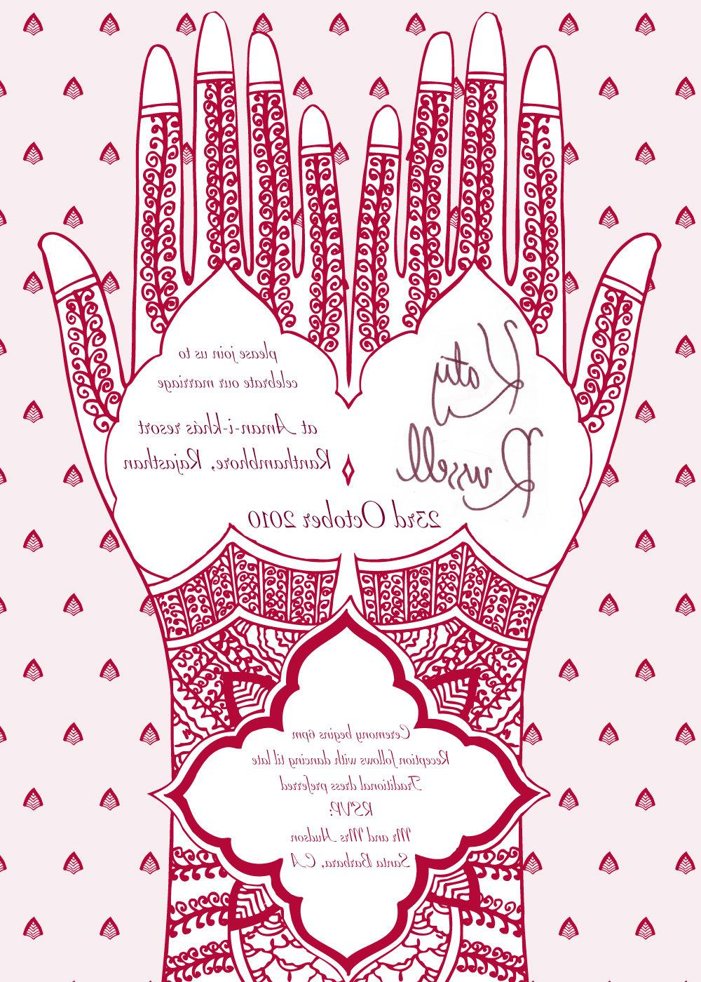 Printable Mehndi Hand Wedding Invitation 5x7 A5