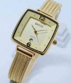 jam tangan Gucci segi date sand chain full Gold