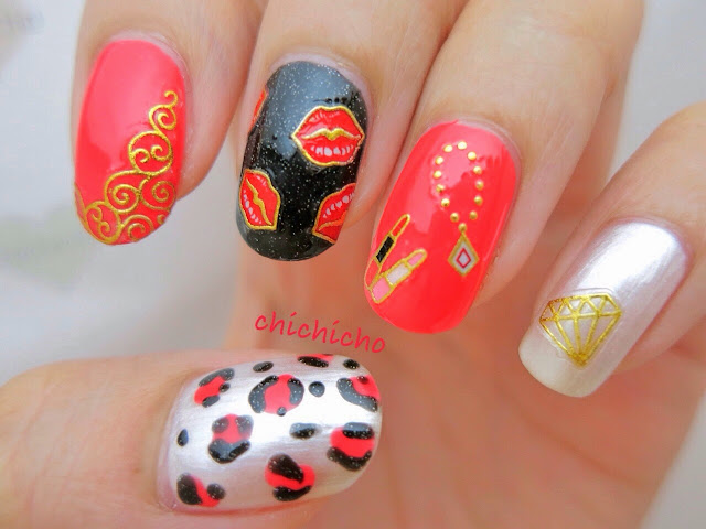 Red Hot Lips Nail Art Stickers jewelry necklace diamond lipstick decal