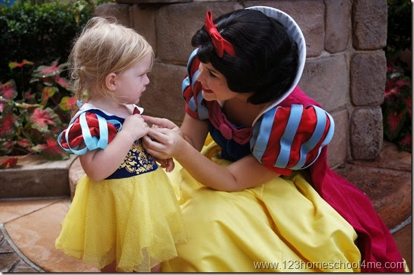 Cheap Disney World Vacation meeting snow white at Epcot