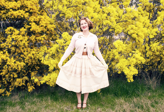 Wearing 1950's style in pink, cream and tan | Lavender & Twill