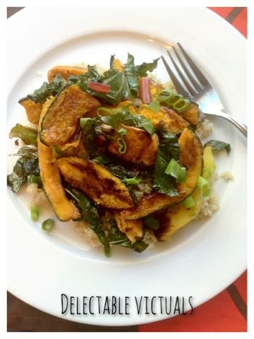 Roasted Kabocha Squash, Chard, Kale, Quinoa Salad