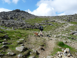 Walking onwards to Bowfell Summit