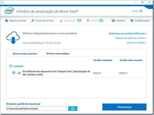 Baixando drivers com o Intel Driver Update Utility