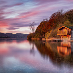 Reflections of First Light by Andy Young - Landscapes Sunsets & Sunrises ( great sky, uk, cumbria, reflections, sunrise, ullswater, duke of portland boat house, lake district )
