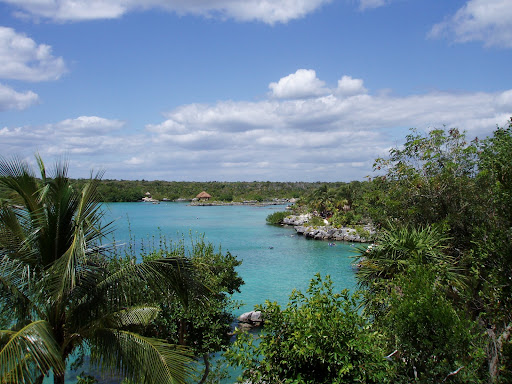 While the girls voraciously consumed their third or twentieth breakfast of the day at the upper Xel-Ha restaurant, I took some pictures of the Xel-Ha lagoon. This is looking upriver towards the mangrove forest.
