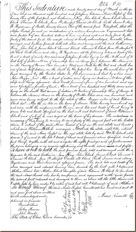 Moses Russell of Clark County, Ohio convey Ruth Irwin 1844