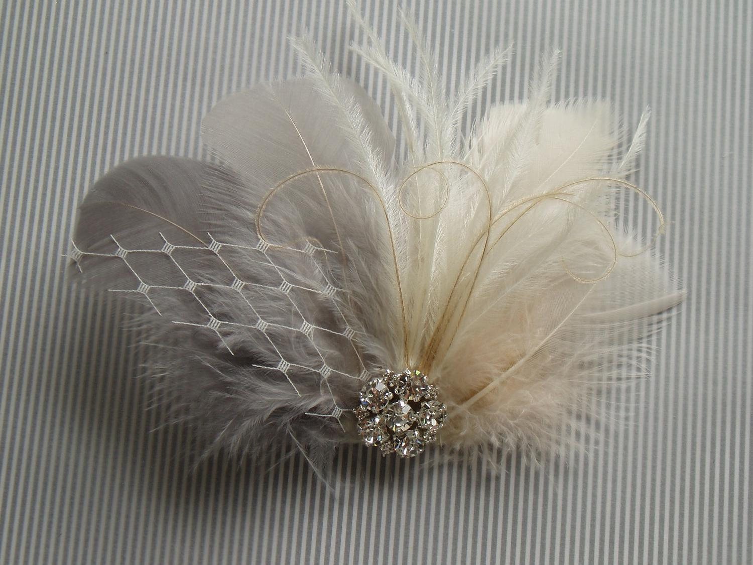 Feather Bridal Hair Clip - Ivory and Grey Fascinator with Rhinestone Jewel