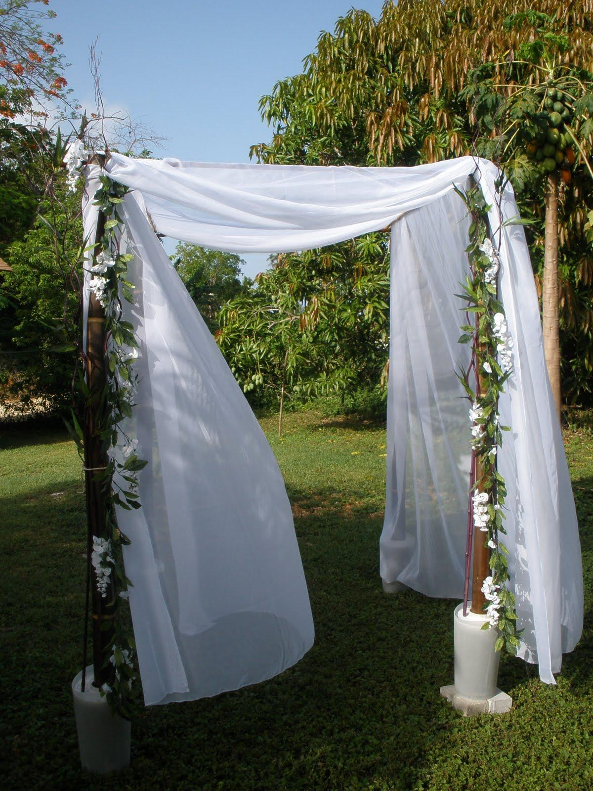 The chuppah covering can be