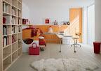 cameretta bambini con boiserie con letti scorrevoli sovrapposti,  scrivania scorrevole e  libreria