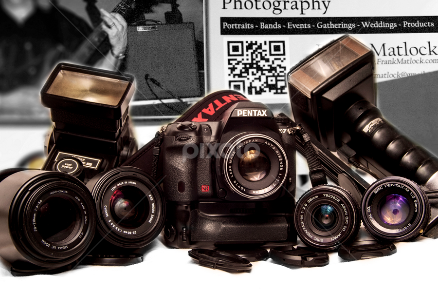 Cool Group of Cameras by Frank Matlock II - Artistic Objects Other Objects ( cool, lenses, background, pentax, group, cameras )